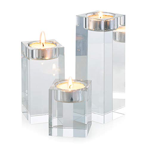 Sziqiqi 3-Piece Crystal Glass Candle Holder Set Crystal Candlelight Dinner Candle Holder Creative Ornament for Home, Dining Table and Bar, Square
