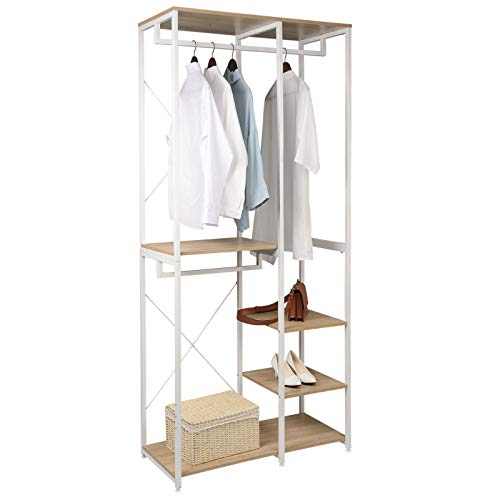 WOLTU Heavy Duty Clothes Rail Light Oak, Sturdy Adjustable Garment Rack with 4 Tiers Shoe Rack Shelves Clothing Organizer Storage