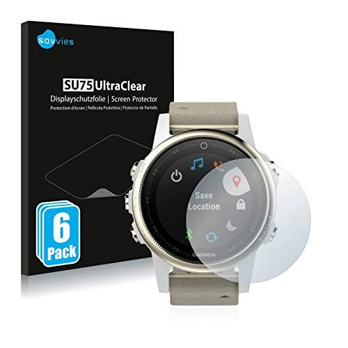 Savvies 6X Schutzfolie kompatibel mit Garmin Fenix 5S (42 mm) Bildschirmschutz-Folie Ultra-transparent