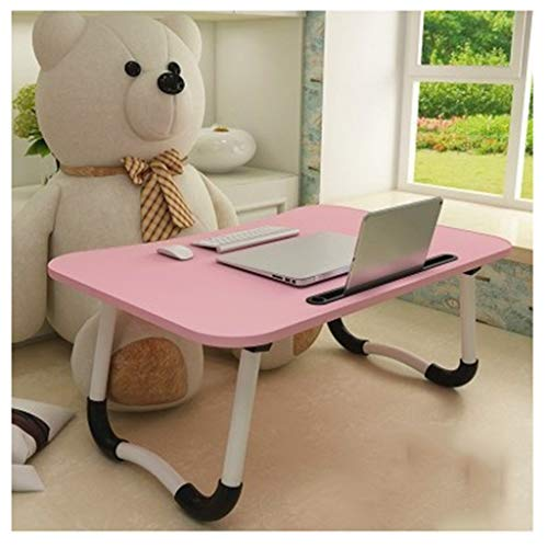 Overbed table Portable Foldable Desk,Adjustable Laptop Bed Table For Bed And Sofa Breakfast Bed Tray Laptop Lap Desk Notebook Stand Reading Holder For Couch Floor (Color : Pink+card slot)