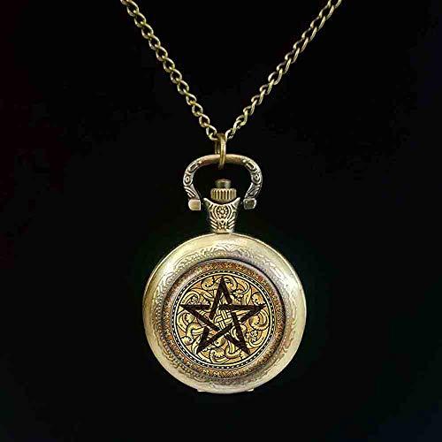 Pentagram Reloj De Bolsillo Cabochon Pentacle Reloj De Bolsi