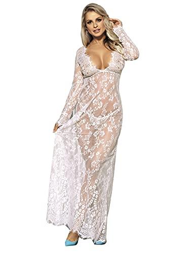 comeondear Damen Kleider Sexy Spitze Lang Langarm V-Ausschnitt Negligee Schwangerschafts Umstandskleid Cocktailkleid Abendkleid,S M/36 EU 38EU,Weiß