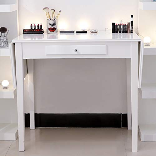 Chende White Makeup Vanity Table with Drawer and Drop Leaf for Bedroom Bathroom, Wooden Writing Desk for Home Office Furniture, Folding Console Table for Entryway Foyer