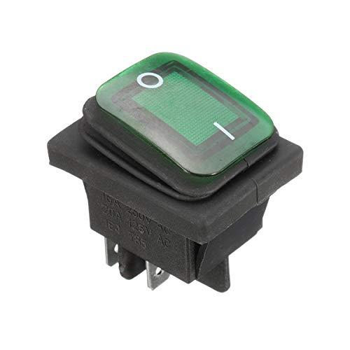 SHANG-JUN Fácil de Montar 16A 250V 4Pin Interruptor basculante Impermeable con lámpara DPst luz de Encendido/Apagado (1pcs) Conveniente (Color : Green)
