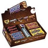BoŒte presentoir de 53 barres chocolatees : Twix 50g, Snicker 50g, Bounty lait 57g, M&M 45 g, Mars 51g