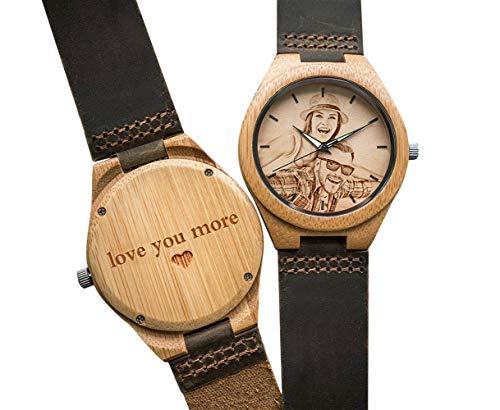 Reloj de madera grabado personalizado con foto o texto para novios regalo aniversario boda regalo del día del padre, 40mm, Marrón