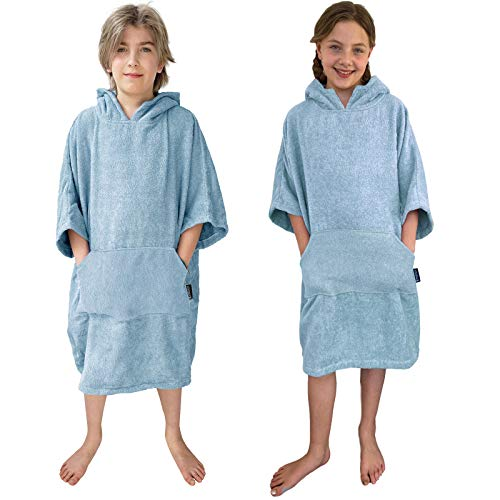 HOMELEVEL Kinder Surfponcho 100% Baumwolle Strandponcho Poncho Badeponcho Strandtuch Handtuch Cape Velours Frottee Badetuch mit Kapuze (Hellblau, 6-9 Jahre)