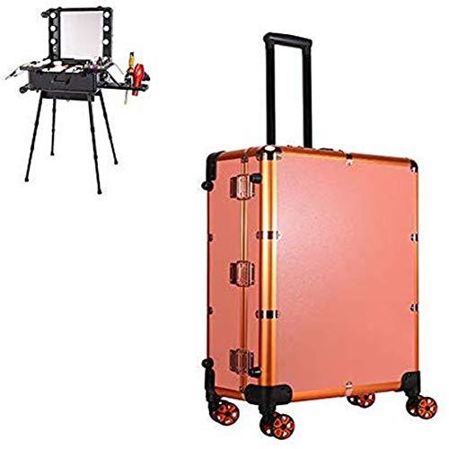 Valise Maquillage Professionnel Trolley avec Grand Miroir Lumineux et USB Mallette Cosmétique Voyage Studio pour Artiste Maquilleur avec Plateaux Makeup Beauty Case