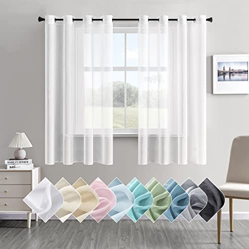 CUTEWIND Gardinen Kurz Volie Vorhänge mit Ösen Halbtransparent Vorhang aus Polyester Gardinen Wohnzimmer 140x160cm(BxH) 2er Set Weiß