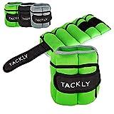 TACKLY Pesas para Tobillos y muñecas 1 a 4 kg Convertibles con Banda Reflectante- Tobilleras con Peso - Lastres Tobillos Pesas para piernas (Verde Agua)