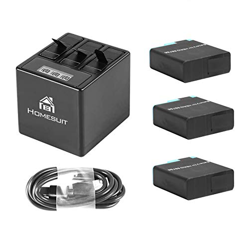 Homesuit Akku (3 Pack) und 3 Kanal LCD USB Ladegerät für GoPro Hero 8 Black, Hero 7, Hero 6 Black mit Typ-C USB Kabel