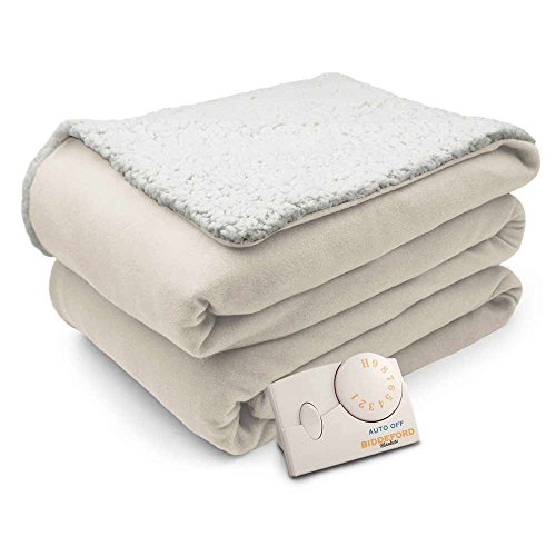 Biddeford Comfort Knit Natural Sherpa Electric Heated Blanket Full Natural