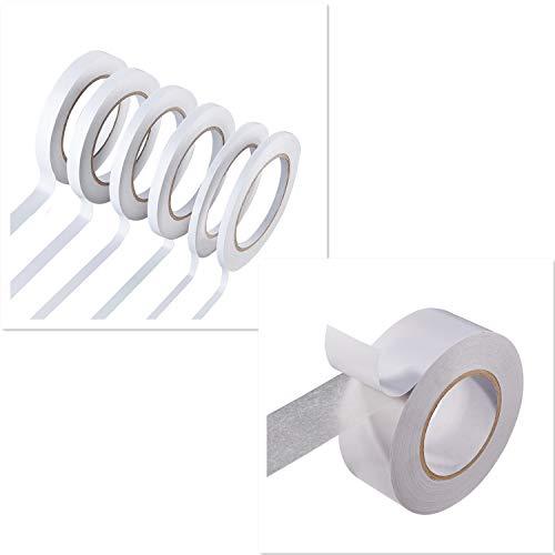 Cinta adhesiva de doble cara para manualidades, fotografía, álbumes de recortes, rasgar a mano, papel de respaldo (7 rollos) (ancho: 6 mm/9 mm/12 mm/15 mm/40 mm)