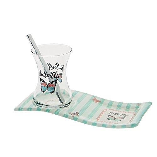 BUTTERFLY Teeservice 18 tlg. aus Glas - Landhaus Teetasse mit Untertasse als Kuchenteller - Tee Service | kunstvolles Teegläser Servierset Tellerset Dessertteller Geschirrset – Teeglas im Vintage-Stil