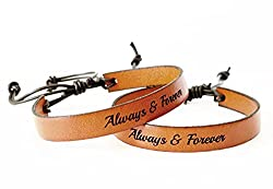 handmade gifts for long distance boyfriend ~ Custom Leather Bracelets