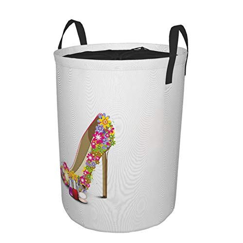 Storage Baskets,Girl's Flower High Heels Cosmetics Of Nail Polish Lipstick Powder Cake Fashion Women Romantic Feminine,,Drawstring Waterproof Round Collapsible Laundry Hamper for Toy Home 21.6'X16.5'