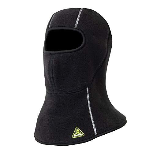 RefrigiWear Extreme Dual-Layer Polartec Fleece Warm Balaclava Face Mask with Reflective Piping (Black, Large/X-Large)