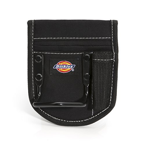 Dickies 2-Compartment Hammer Holder for Tool and Work Belts, Durable Canvas, Includes Tool Loop and Pocket, Fits up to 4.5-inch Belts, Black