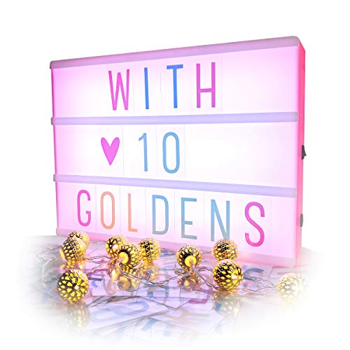 Sanyan Cinema Light Box with Letters, Gift Cinematic Marquee Sign LED Light Up Message Combination Board with 96 Letters & 10 Globe String Lights Set, USB Or Battery PoweredPink