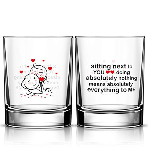 BOLDLOFT You Mean Everything to Me His and Hers Drinking Glasses-Couples Gifts for Him and Her - Anniversary Wedding Valentine's Day Engagement Gifts for Husband and Wife Boyfriend and Girlfriend
