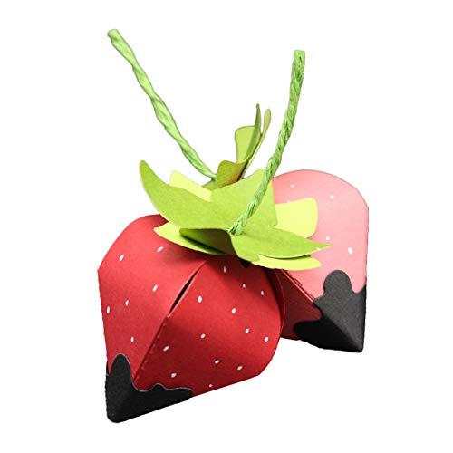 WOZOW Scrapbooking Stanzschablone Süß Prägeschablonen Schablonen Stanzmaschine Stanzen Stanzformen, Zubehör für Sizzix Big Shot und andere Prägemaschine (Erdbeer-Geschenkbox)