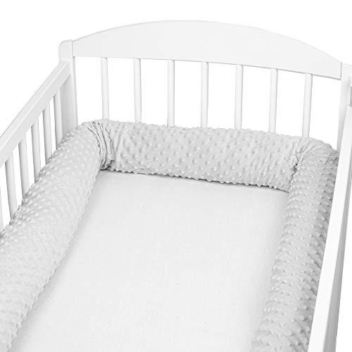 Bettschlange baby Nestchenschlange Bettrolle - Bettumrandung Babybettschlange Babybett umrandungen Babynestchen für Kinderbett (Grau Minky, 300 cm)