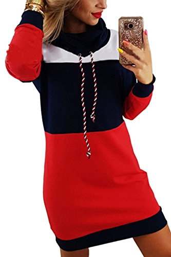 Zilcremo La Mujer Casual Vestido Colorblock High Neck Pullover Sudadera con Cordon Darkblue M
