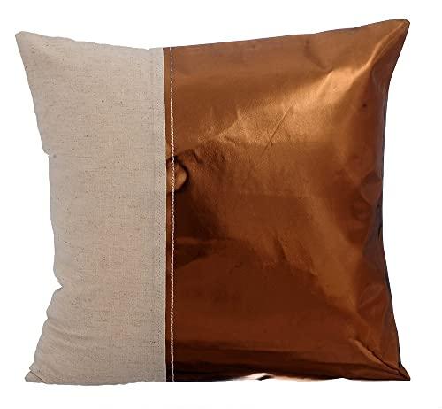 Cuivre housse de coussin, Cuir métallique Linge de coton housse de coussin pour canapé, 50x50 inch housse de coussins, Moderne enveloppe de coussin, Faux cuir enveloppe de coussin - Better Half Copper