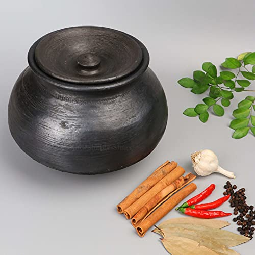 Swadeshi Blessings Exclusive Range Unglazed Clay Handi/Earthen Pot for Cooking with Lid (4.5 LTR, Black) (with Natural Firing Shade & Mirror Shine) + Free ASH for Cleaning & Palm Leaf Stand (4.5)