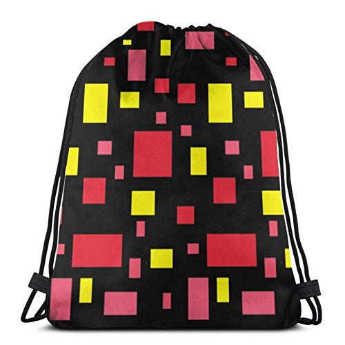 LREFON Mochila Saco Patrones de Color de Bloque Logo-Mochila Saco-Negro