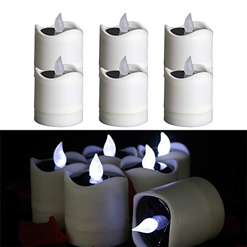 TINYOUTH 6PCS Solar Candle Lights Outdoor, Cool White Light Solar Flickering Candle Lights Flameless Waterproof Candle Lights for Outdoor Wedding Christmas Halloween Party Decor