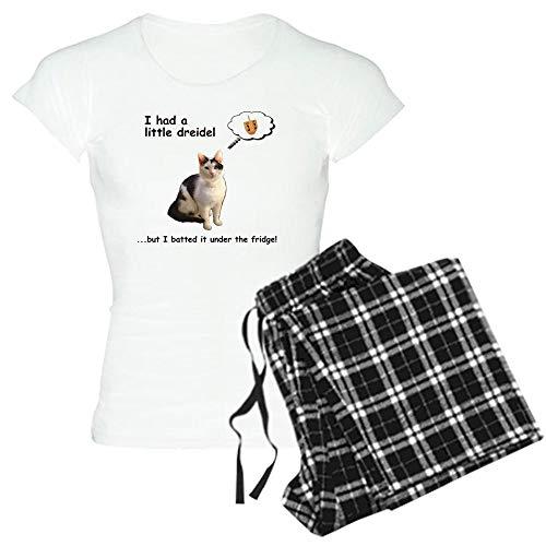 CafePress Hannukah Dreidel Cat Women's Light Pajamas Womens Novelty Cotton Pajama Set, Comfortable PJ Sleepwear