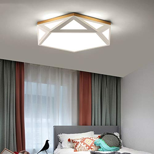 X&hui Led-plafondlamp, warmwit, dimbaar in 3 kleuren, progressieve dimming, holle hout, slaapkamer, woonkamer, eetkamer, hotel, kinderkamer