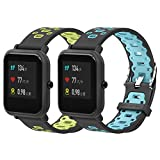 SenMore Correa para Xiaomi Amazfit Bip Younth - 20mm Silicona Pulsera Impermeable Correas de Repuesto para Galaxy Watch 42mm, Gear S2 Classic, Huawei Watch 2, Huami Amazfit Bip (20MM, 2PCS Sport M2)