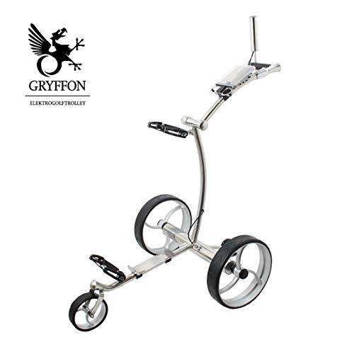 Elektro Golf Trolley GRYFFON Professional Steel Edelstahl mit Fernbedienung und Lithium-Eisen Akku / 24V Lithium Elektro Caddy Golf / Elektro Trolley X2R-SS
