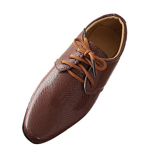 DAY8 Chaussures Garcon Cuir PU Automne Chaussures de Cérémonie Mariage Soirée Bal Enfant Garçon Hiver Chaussures de Ville à Lacets pour Garçon Pas Cher Derby Garçon Caoutchouc (Marron, 32 EU)