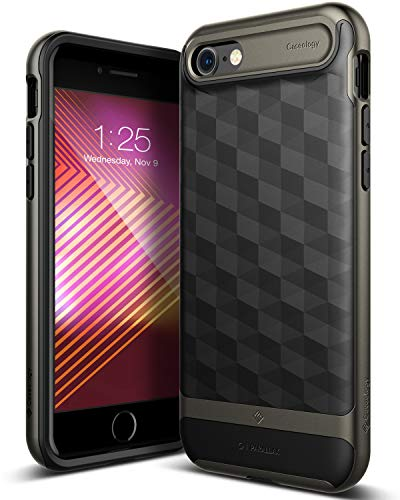 Caseology Parallax for Apple iPhone 8 Case (2017) / for iPhone 7 Case (2016) - Award Winning Design - Black/Warm Gray