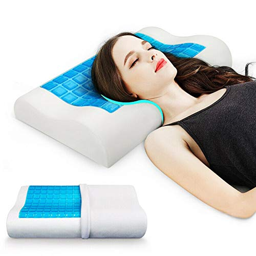 Stress Relief Cool Pillow, Cool Gel and Memory Foam Double-Sided Pillow Contour Memory Foam Pillow Ergonomic Memory Foam Pillow with Cooling Gel for Sleeping Cool and Neck Support, Standard Size