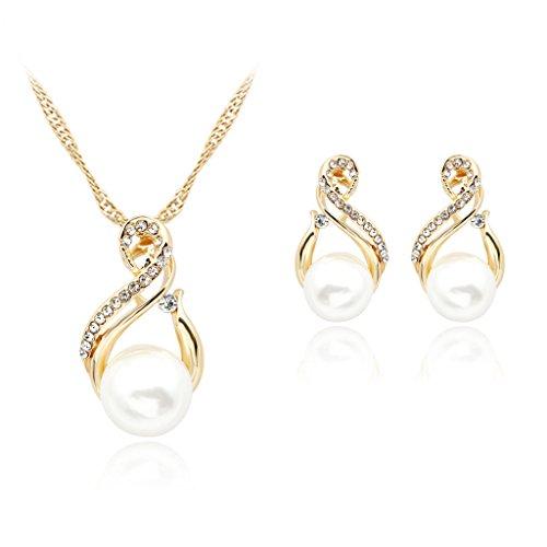 chiwanji Pearl Diamante Rhinestone Colgante Collar Espárragos Conjunto de Joyas Fiesta de Boda