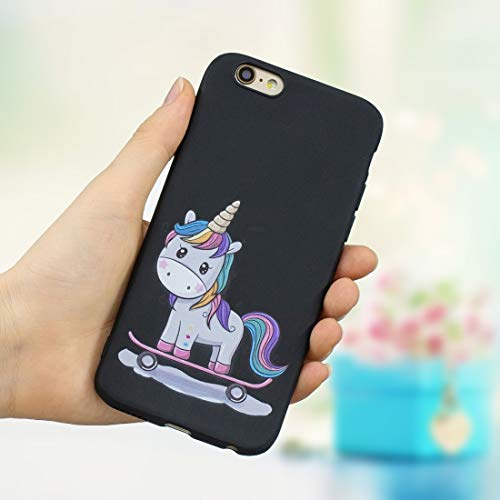 Tekening Design Cover Voor IPhone 6 & 6,Frosted Patroon TPU Beschermende Case, Scooter unicorn