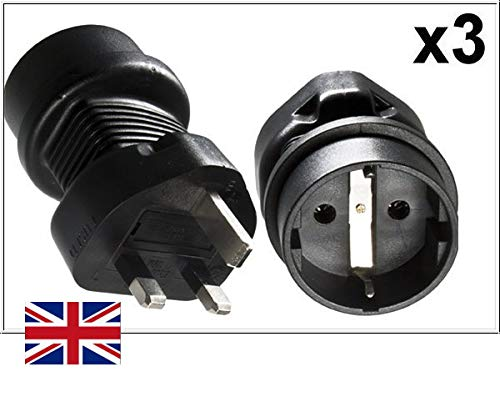 DINIC Reisstekker, stroomadapter voor Engeland op geaard stopcontact, netadapter 3-polig UK