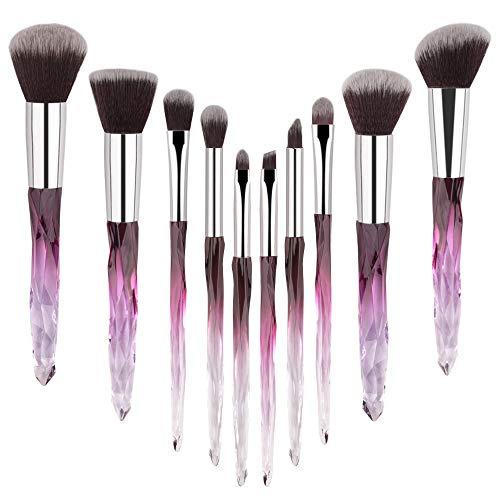 Brocha de maquillaje 10pcs cepillo del maquillaje cosmético Tipo suave polvo de cara del cepillo de la fundación del pelo sintético Manija cristalina mujer compone Kits de Herramientas de pincel