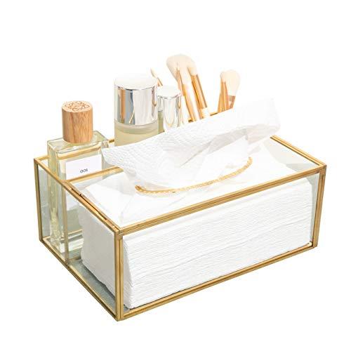 SLHP Make up Organizer Beauty Organizer Tray Schmuck Pinselhalter Gold, Glas Kosmetikbox, Klar Dekoratives Tablett (Gold F)