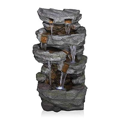 Alpine Corporation TZL284 Alpine Cascading Stone Wall Fountain, Brown and Gray