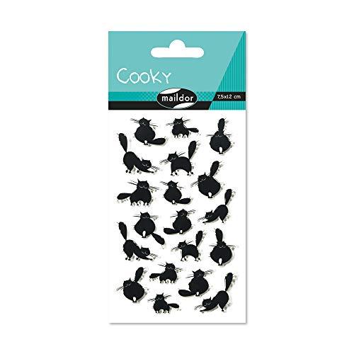 Maildor 560417C Packung mit Stickers Cooky 3D (1 Bogen, 7,5 x 12 cm, ideal zum Dekorieren, Sammeln oder Verschenken, Katzen) 1 Pack