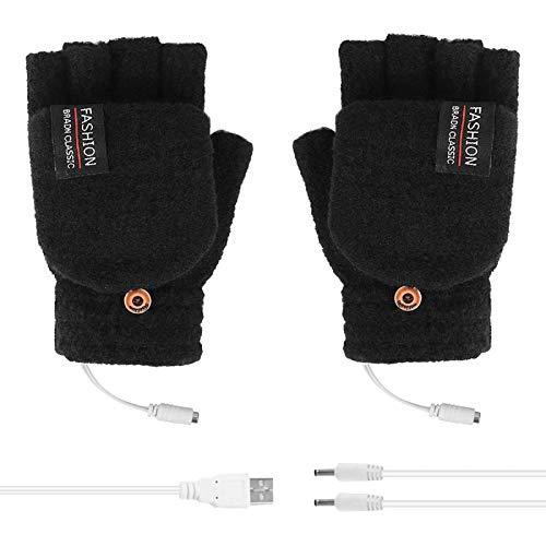 USB Heated Gloves for Women & Men, Mitten Winter Warm Laptop Gloves, Full & Half Hands Heated Fingerless Heating Knitting Hands Warmer Washable Design (A, 1PC)