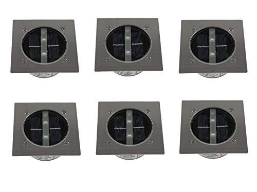 6er SET moderner Solar LED Bodeneinbaustrahler 4-eckig in Edelstahl / Glas für Außen