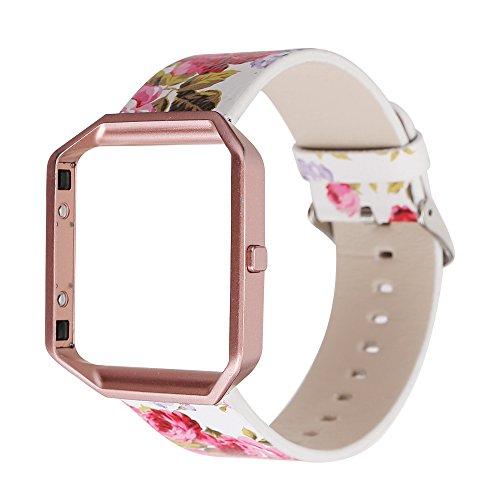Gimartuk Echtes Lederband für Armbanduhr, Armband mit Blumenmuster, Armband Für Fitbit Blaze mit Stahlrahmen, damen, Flower+Rose Gold Frame, Small / Large