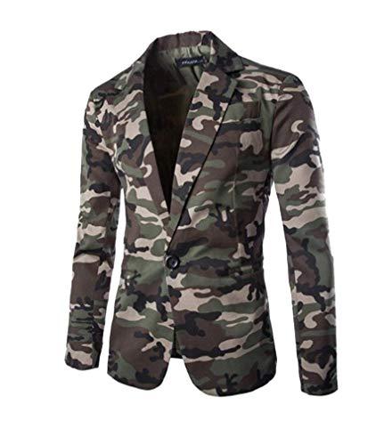 HX fashion Herren Camouflage Slim Fit Blazer Anzugjacke Sakko Blazer Casual Bequeme Größen Freizeit Military Männer Herrensakko Jacke Kleidung (Color : Armeegrün, Size : XL)