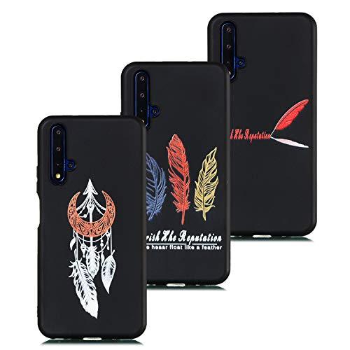 HopMore 3 Pack Coques pour Huawei Honor 20 Silicone Noir Étui Motif Drôle TPU Souple Etui Honor 20 Antichoc Protection Mince Gel Bumper Case Housse Fine - D Design
